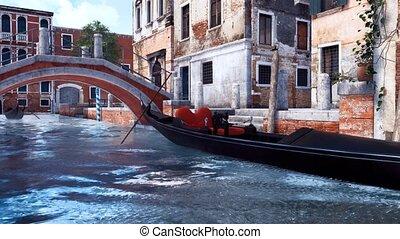 Empty gondola anb old bridge over canal in Venice - Empty...