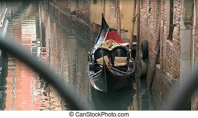 Gondola in Venice - Empty Gondola in Venice in a Canal