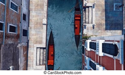 Empty gondolas on water canal in Venice Top view - Top down...