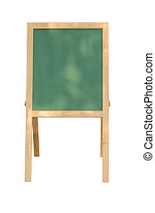 Empty Green board with wooden frame on white background.