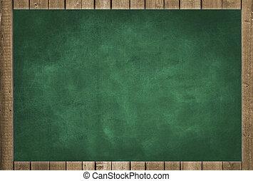 empty green chalkboard, framed
