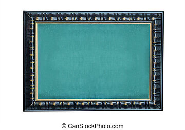 Empty green chalkboard with black wooden frame on white background.