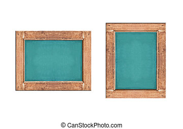 Empty green chalkboard with wooden frame on white background.