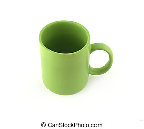 Empty green cup isolated top view