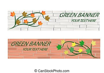 Empty Green ecological banner with brick wall and leaves