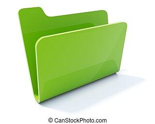 Empty green folder icon isolated on white