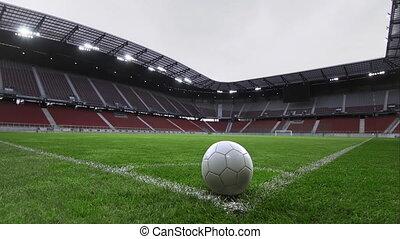Empty green grass playground in an empty stadium