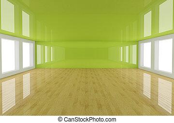 Empty green interior room