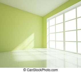 empty green room - empty big green room with white window