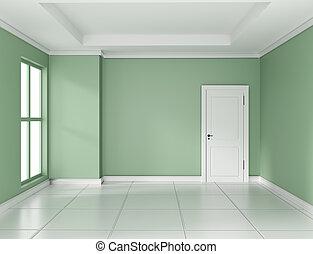 Empty green room interior design 3d rendering