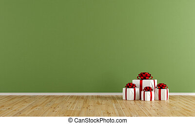 Empty green room with gift - Green room with gift on wooden...