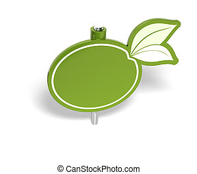 empty green sign, pushpin like, for eco friendly message over a white background