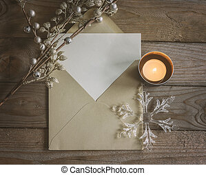 Empty greeting card and envelope mockup