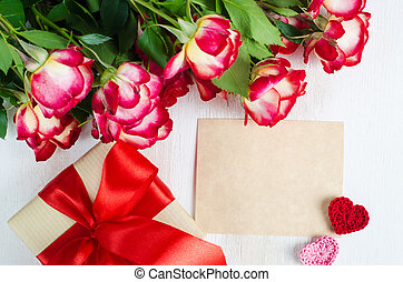 Empty greeting card, red roses and gift box - Empty greeting...