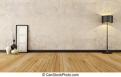 empty room with hardwood floor and old wall - rendering