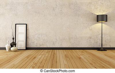 Empty grunge interior - empty room with hardwood floor and...