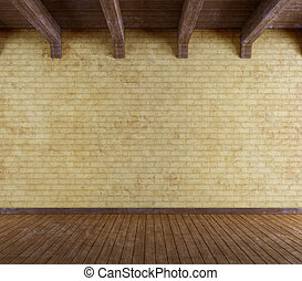 Empty grunge room with old brick wall and wooden ceiling - rendering
