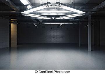 Empty grungy interior - Empty dark grungy interior. 3D...