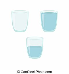 Empty, half and full water glass. Vector illustration.