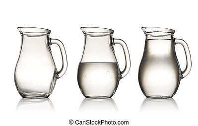 water jug - empty, half and full with water jug. Isolated on...