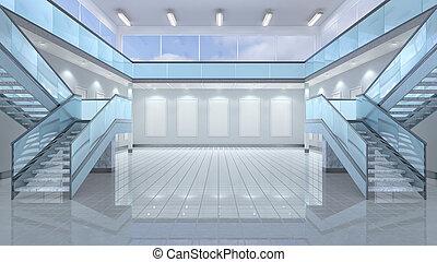 Empty hall interior. 3d illustration