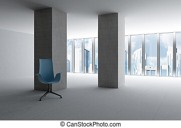 empty hall of modern business office with light from windows