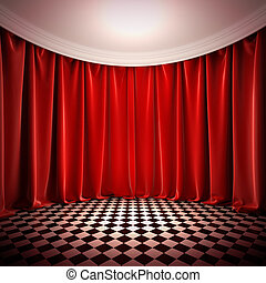 Empty hall with red curtains.