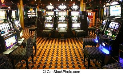 empty hall with slot machines which were shone everywhere