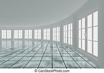 Empty hall with windows. Interior. 3D image