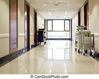 Empty hallway of hospital - Interior of clean reflective ...