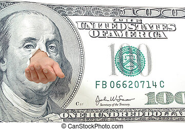 Empty hand, but not for long! - Empty hand and dollar bill