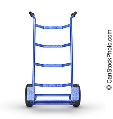 Empty hand truck in front view isolation on a white background. 3d illustration