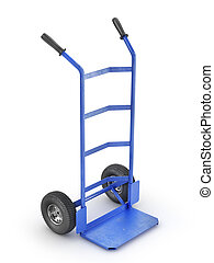 Empty hand truck isolation on a white background. 3d illustration