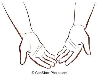 Empty Handed Begging Poor Beggar - Empty-handed. Two hands...