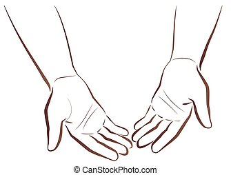 Empty-handed. Two hands of a poor man showing his empty hands. Isolated vector outline illustration on white background.