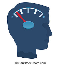 Empty head - Male profile with dial running out of energy,...