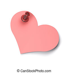 empty heart note - Pink heart shaped note fixed on a white...