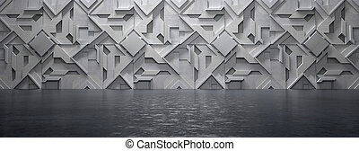 Empty High Tech Futuristic Room (3D Illustration)