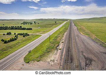 highway and railroad in Nebraska Sandhills