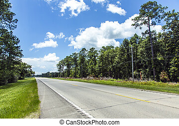 empty highway in america with trees and blue sky - travel ...