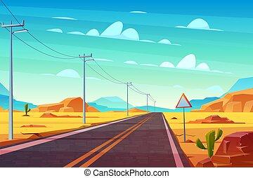 Empty highway in hot dessert cartoon vector