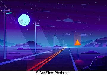 Empty highway in night dessert cartoon vector