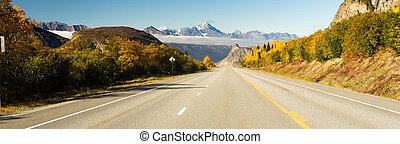 Empty Highway One Fall Season Open Road Alaska