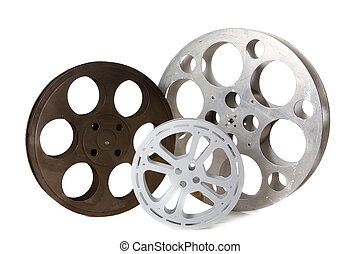 Empty Hollywood Film Canister Tins on White