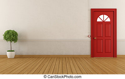 front door clipart. Empty Home Entrance With Red Classic Door - Rendering Front Clipart