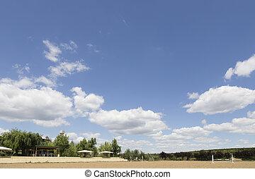 Empty horse race track for animals and jockey.