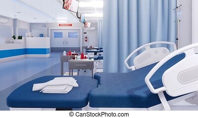 Empty hospital bed in emergency room Close up