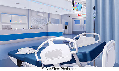 Empty hospital bed in emergency room Close-up - Close-up of...