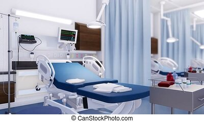 Empty hospital bed in modern emergency room 3D