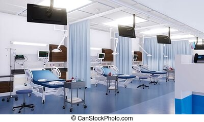 Empty hospital beds in emergency room 3D animation